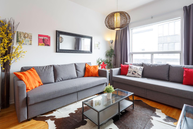 Vinyle: salon avec 2 sofa-lits confortables
