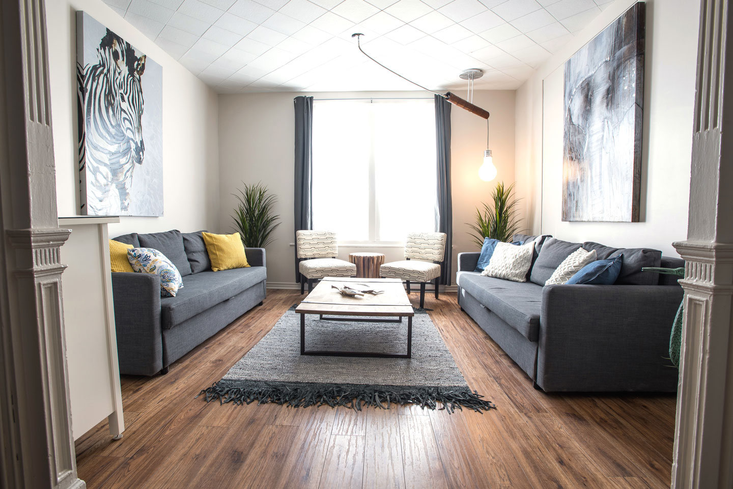 Mtl Zoo: spacious living room with HD TV, cable, Netflix and free WiFi