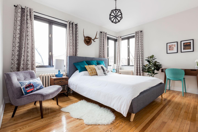 Scandinavian kiss: master bedroom with queen bed and comfortable memory foam mattress