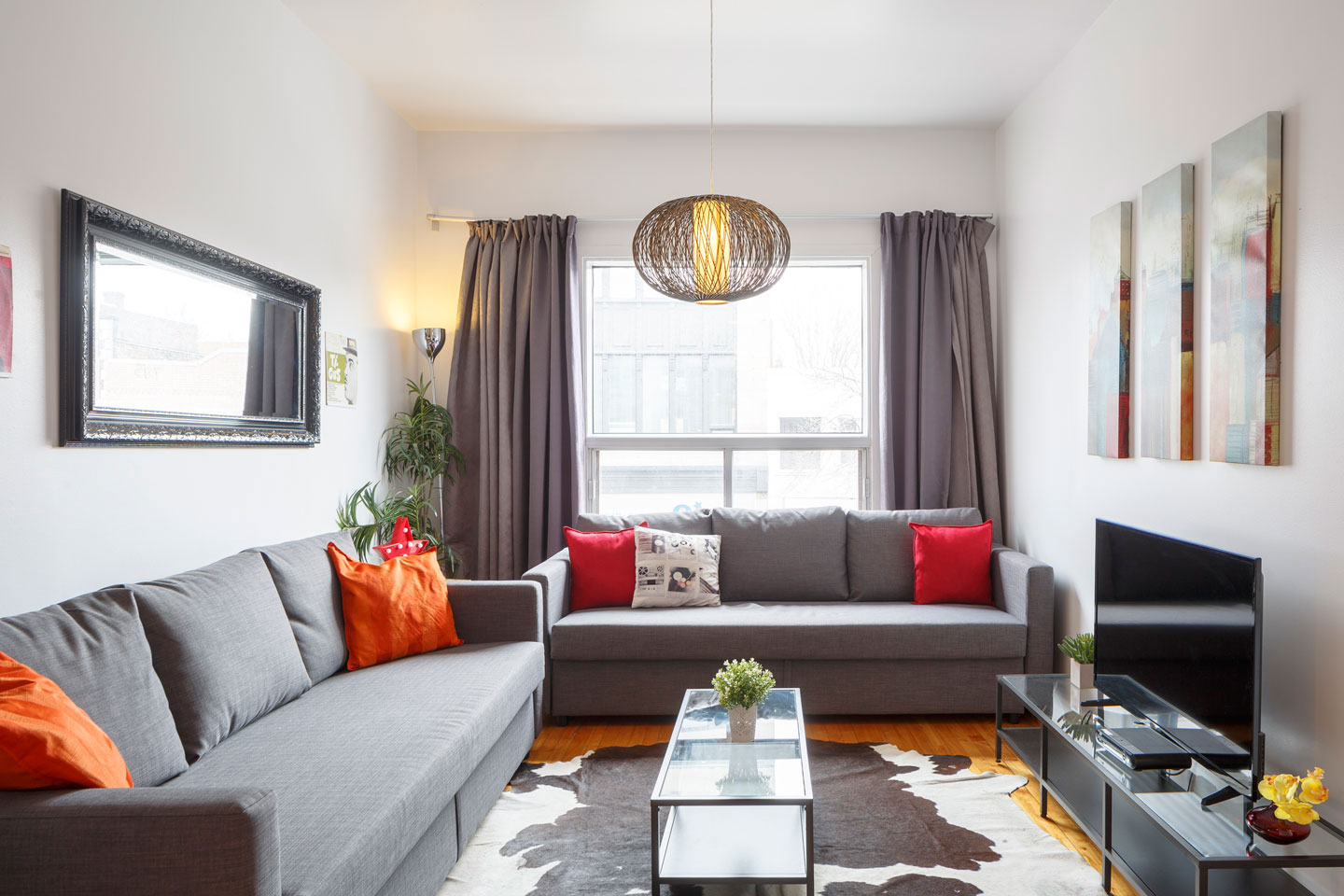 Vinyl: living room with 2 comfortable sofa-beds