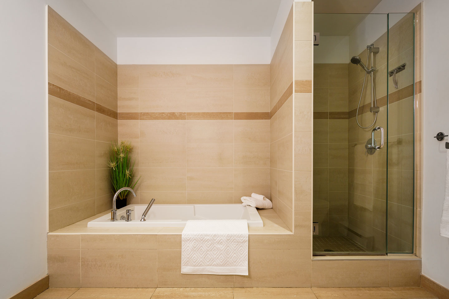 Suite 103: bathroom with large tub and walk-in shower