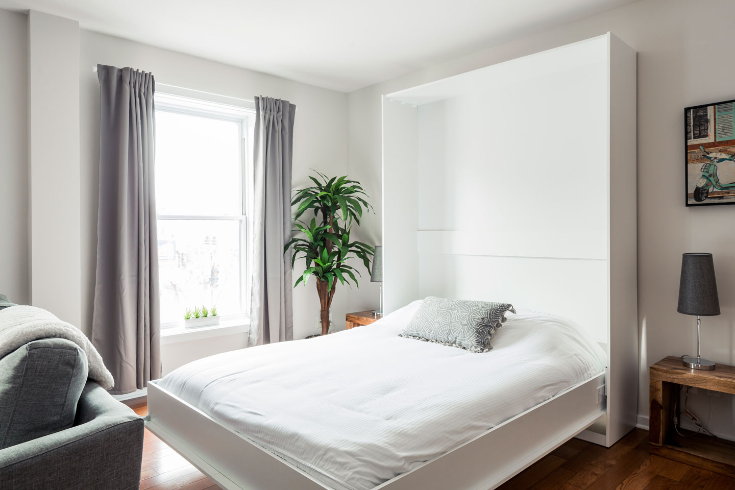 Suite 101: murphy bed in the open area (opened)