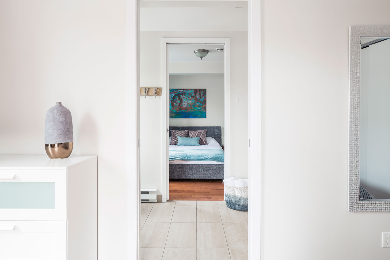 Suite 101: view of bedroom 2 from bathroom