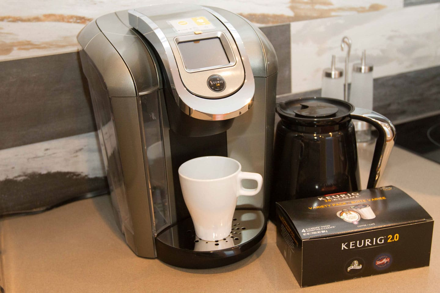 Entertainer: Keurig coffee machine with pods provided