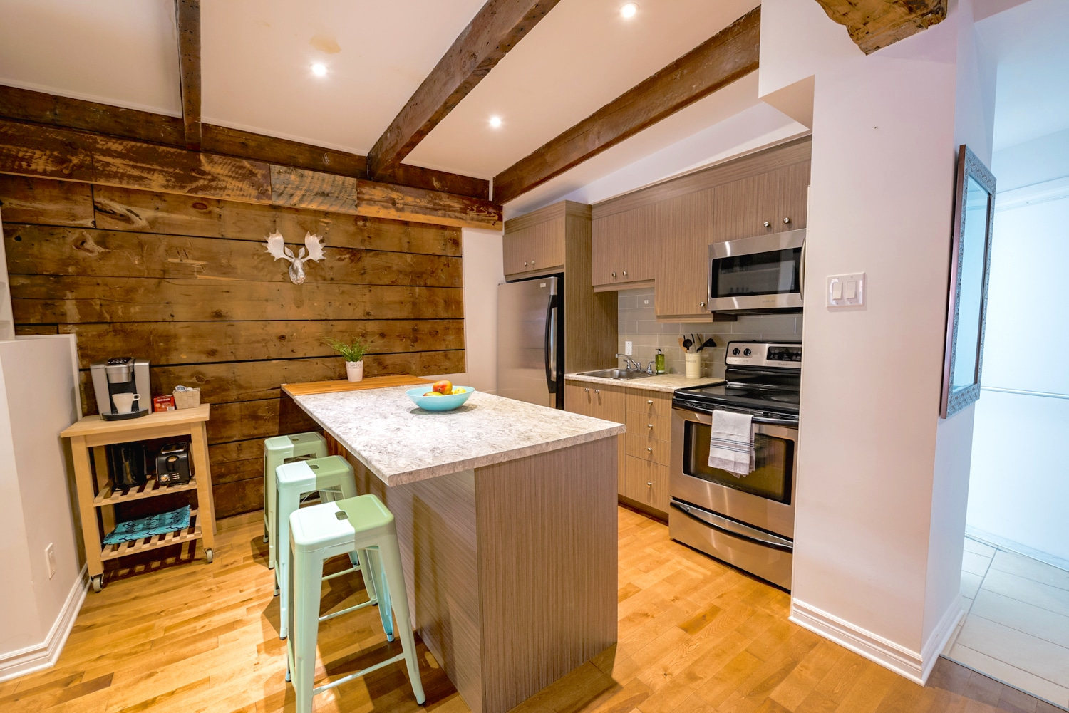 Fully equipped kitchen, open to the living area