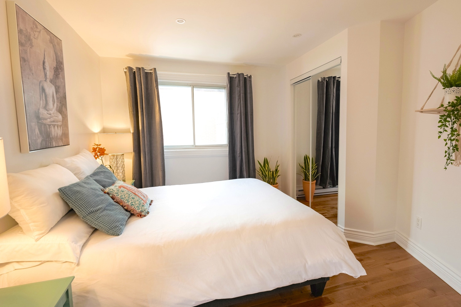Nice master bedroom with storage and lots of light
